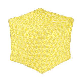 Yellow and White Diamonds Cube Pouffe
