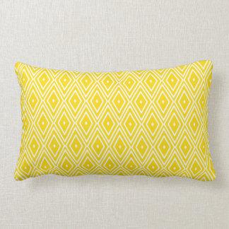 Yellow and White Diamonds Lumbar Pillow