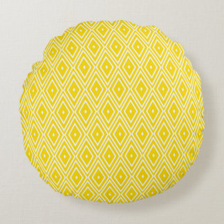 Yellow and White Diamonds Round Cushion
