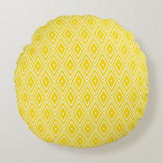 Yellow and White Diamonds Round Cushion