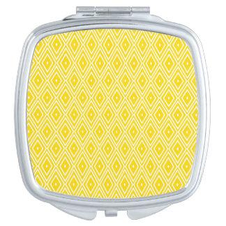 Yellow and White Diamonds Travel Mirrors
