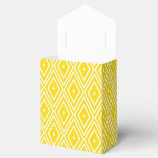 Yellow and White Diamonds Wedding Favour Box