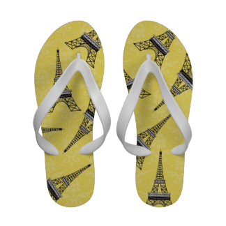 Yellow and White Eiffel Tower Damask Flip Flops.