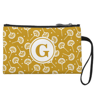 Yellow And White Floral Pattern Monogram Clutch