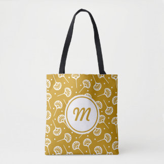 Yellow And White Floral Pattern Monogram Tote Bag