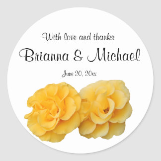 Yellow and White Floral Round Wedding Stickers