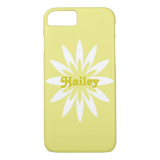 Yellow and white flower monogram cell phone case