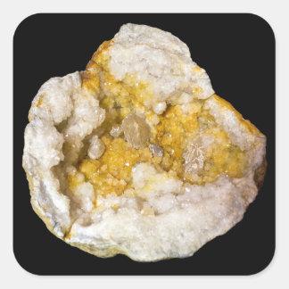 Yellow and White Geode Half on Black Sticker