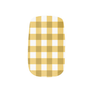 Yellow And White Gingham Check Pattern Minx Nail Art