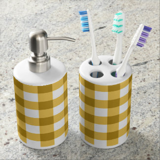 Yellow And White Gingham Check Pattern Soap Dispenser And Toothbrush Holder