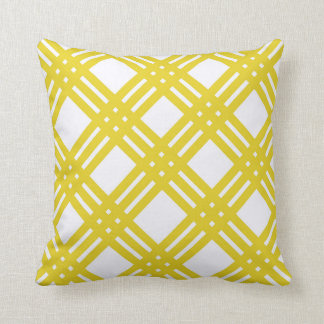 Yellow and White Gingham Cushion