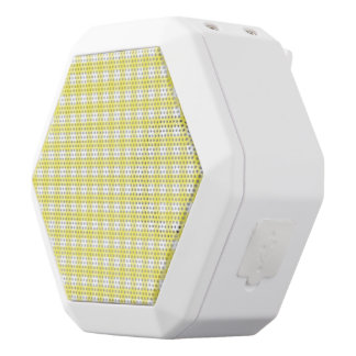 Yellow and White Gingham Design White Boombot Rex Bluetooth Speaker