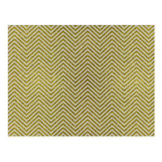 Yellow and White Glitter Zig Zag Postcard