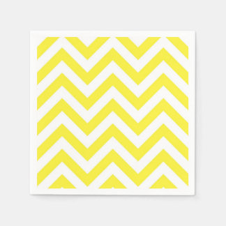 Yellow and White Large Chevron ZigZag Pattern Disposable Serviette