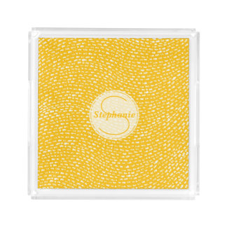Yellow and white Monogrammed Dash marks Acrylic Tray