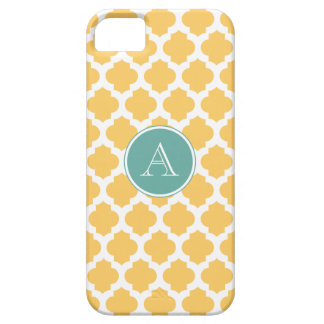 Yellow and White Moroccan Pattern, Jade Monogram iPhone 5 Cases