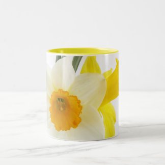 Yellow and White Narcissus Daffodils Two-Tone Coffee Mug