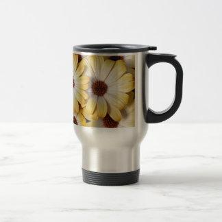Yellow and white osteospermum flowers stainless steel travel mug