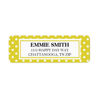 Yellow and White Polka Dot Address Label