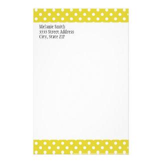 Yellow and White Polka Dot Custom Stationery