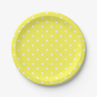 Yellow and white polka dot modern glamour 7 inch paper plate