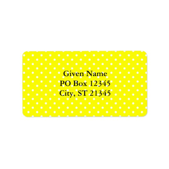 Yellow and White Polka Dot Pattern Label