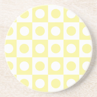 Yellow and White Polka Dot Squares Drink Coaster