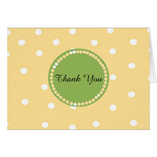 Yellow and White Polka Dot Thank You Card