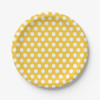 Yellow and White Polka Dots Paper Plate