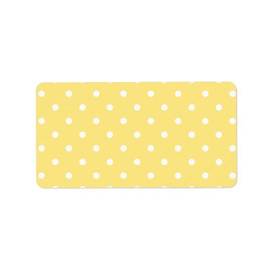 Yellow and White Polka Dots Pattern. Address Label