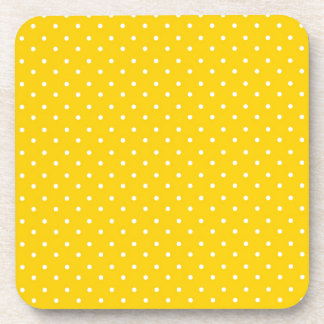 Yellow and White Polka Dots Pattern Beverage Coaster