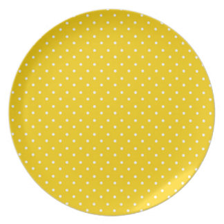Yellow and White Polka Dots Pattern Party Plate