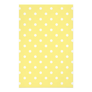 Yellow and White Polka Dots Pattern Stationery Design