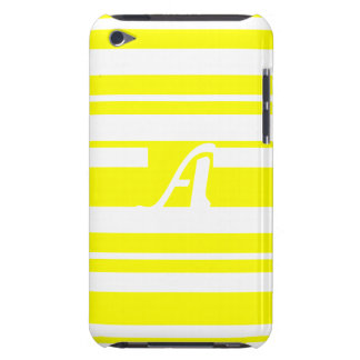 Yellow and White Random Stripes Monogram Barely There iPod Cover
