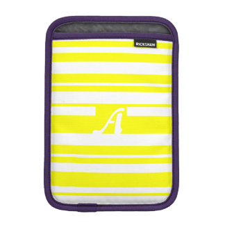 Yellow and White Random Stripes Monogram iPad Mini Sleeves