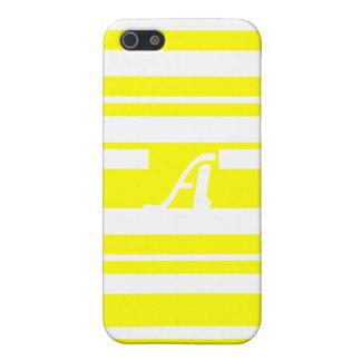 Yellow and White Random Stripes Monogram iPhone 5/5S Cases