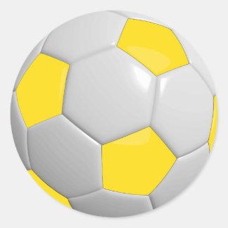 Yellow and White Soccer Ball Round Sticker