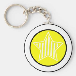 Yellow and White Star Keychain