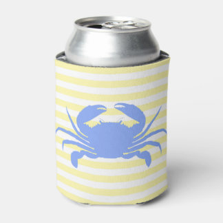Yellow and White Stripe Can Cooler with Blue Crab