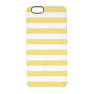 Yellow and White Stripe Pattern Clear iPhone 6/6S Case