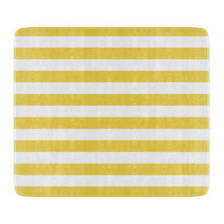 Yellow and White Stripe Pattern Cutting Board