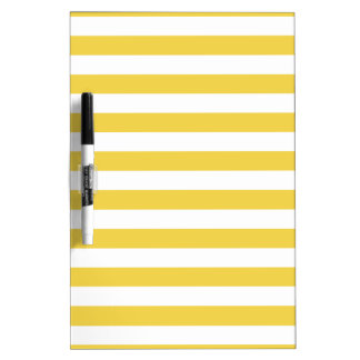 Yellow and White Stripe Pattern Dry Erase Board