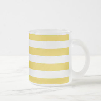 Yellow and White Stripe Pattern Frosted Glass Coffee Mug