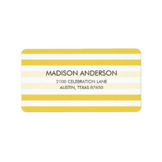Yellow and White Stripe Pattern Label