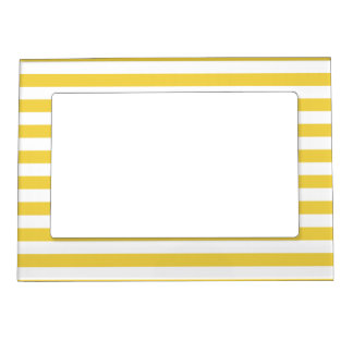 Yellow and White Stripe Pattern Magnetic Picture Frame