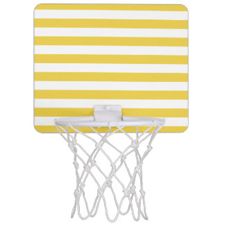 Yellow and White Stripe Pattern Mini Basketball Hoop