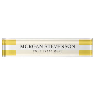Yellow and White Stripe Pattern Name Plate