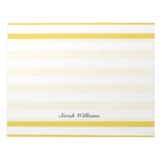 Yellow and White Stripe Pattern Notepad
