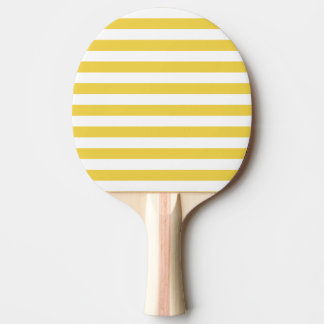 Yellow and White Stripe Pattern Ping Pong Paddle