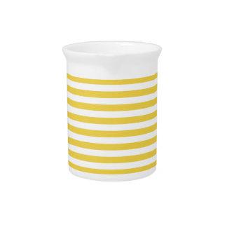 Yellow and White Stripe Pattern Pitcher